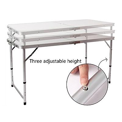 Befied Table de Camping Pliable Hauteur Réglable Tables de Pique-nique-120 x 60 x 69cm