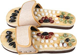 Romonacr Massage Slippers Foot Massager Shoes Shiatsu Relax Sandals with Natural Cobblestone Stones S (Women 6.5/Men 5.5)