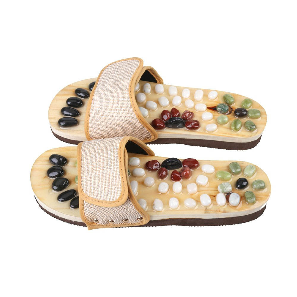 b24abe8202cfd Romonacr Massage Slippers Foot Massager Shoes Shiatsu Relax Sandals with  Natural Cobblestone Stones