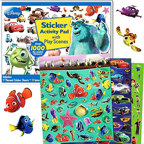 Character Stickers Kids - Disney Pixar Ultimate Sticker Activity Pad ~ Over 1000 Pixar Stickers Featuring Cars, Finding Nemo, Toy Story, Monsters Inc. and More!