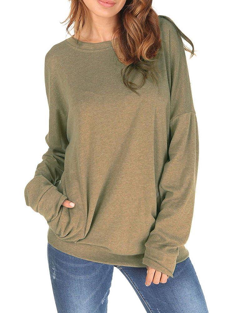 9cc8bf215343 Amazon.com  Dasbayla Women Casual Long Sleeve Blouse Top Oversize  Sweatshirt Pockets  Clothing