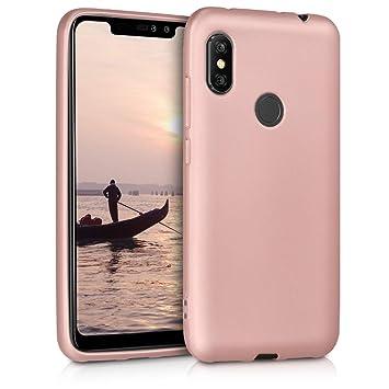 kwmobile Funda para Xiaomi Redmi Note 6 Pro - Carcasa para móvil en [TPU Silicona] - Protector [Trasero] en [Oro Rosa Metalizado]