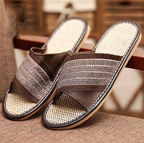 W&XY cool Slippers summer Men Home indoor Non-slip Deodorant Linen flip flop 43 GtX5r9