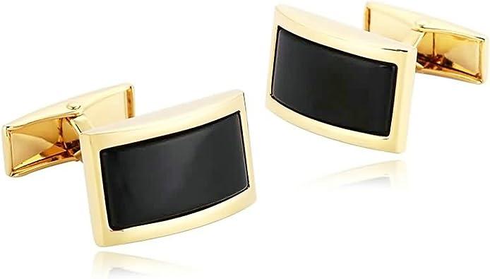 Daesar Gemelos de Acero Inoxidable Gemelos de Hombre Gemelos Camisa Gemelos Arco Rectángulo Gemelos para Hombre Gemelos Oro Negro: Amazon.es: Joyería