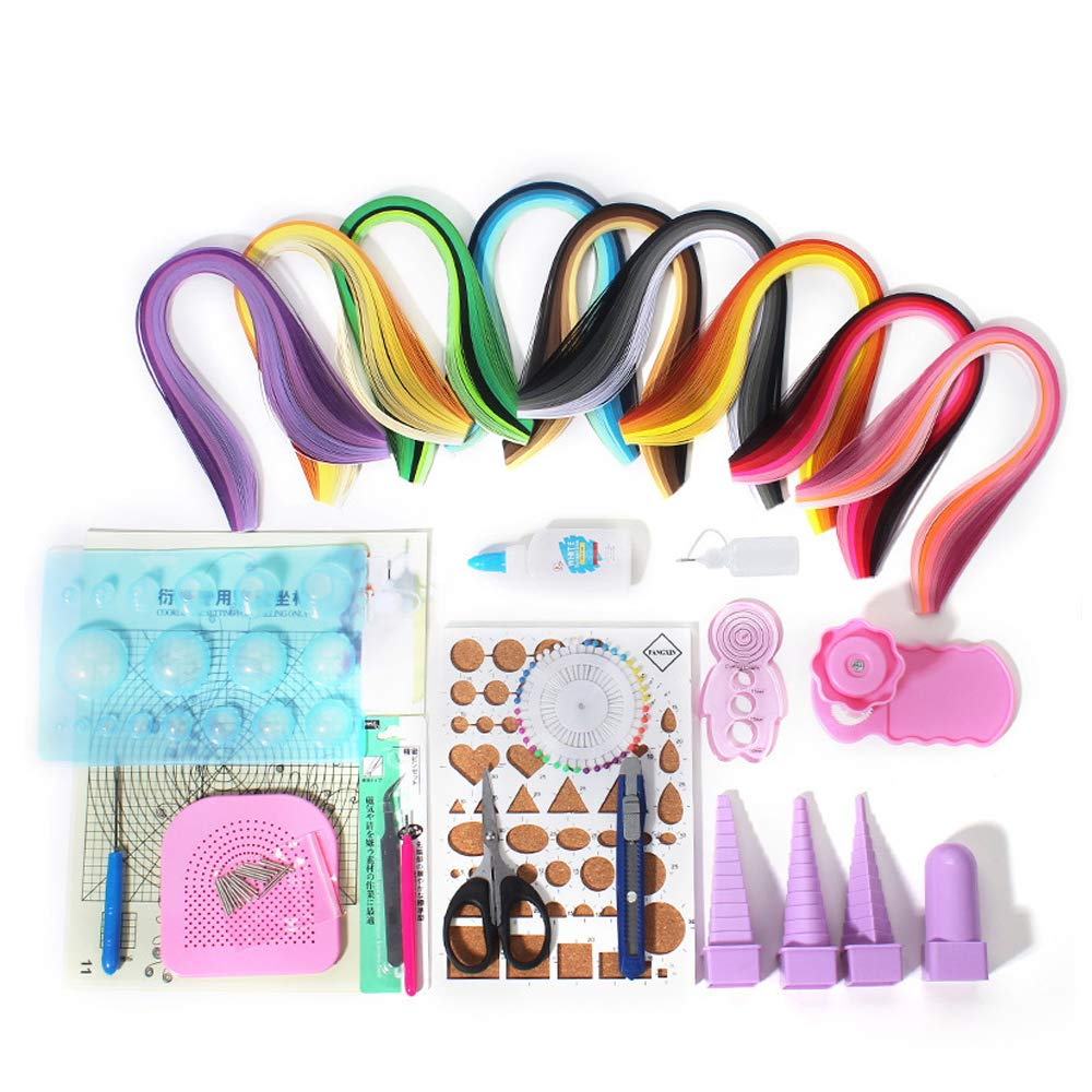 Paper Quilling Kit Assorted Colors with 18 Kinds Tools and 900 Strips Paper All-in-one