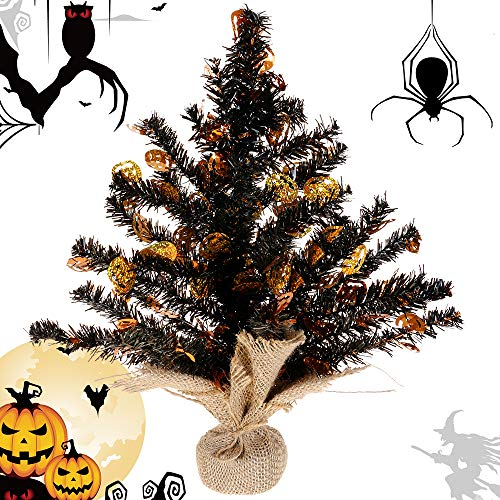 Joy&Leo Tabletop Pumpkin Sequin Black Tinsel Halloween Tree, Easy to Assemble, for Small Spaces & Apartment & Fireplace & Party & Home & Office & Store & Classroom & Halloween Decorations