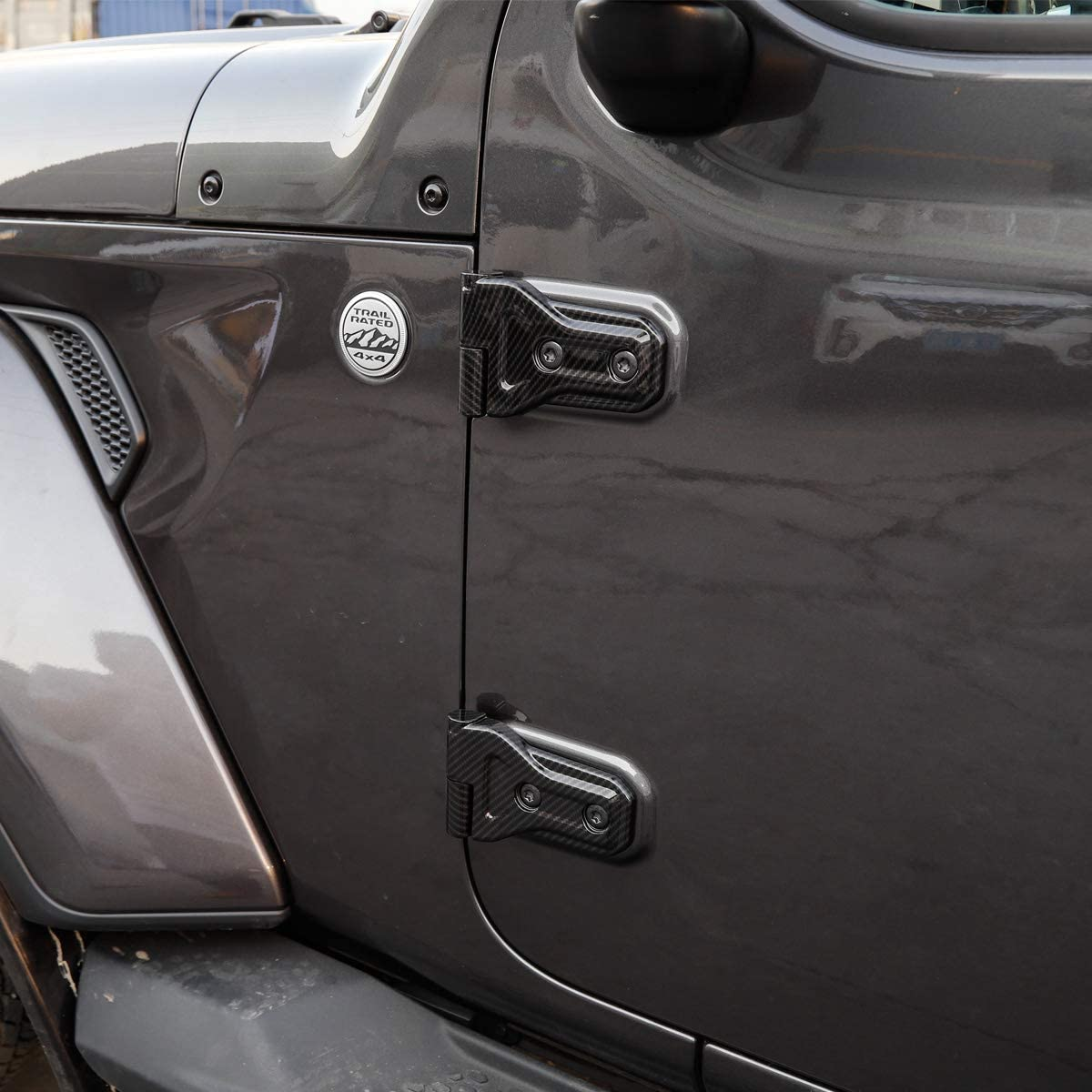 Door Hinge Cover, 4-Door JeCar ABS Silver Engine Door Hinge Cover Molding Trim for 2018 Jeep Wrangler JL