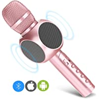 Karaoke Microphone, MODAR Wireless Microphone Handhold Mic Bluetooth Speaker 3.0, Gift 3-in-1 Dual Speakers Built-in Chargeable Battery for Outdoor Home Party KTV Playing Singing Music (Pearl Pink)