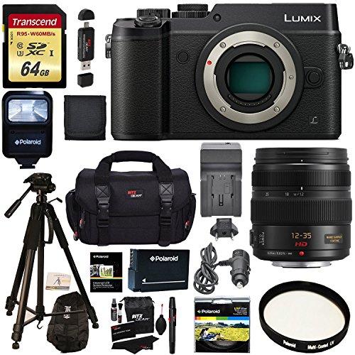 Panasonic GX8 LUMIX Interchangeable Lens DSLM Camera Black + Panasonic Lumix G X Vario 12-35mm f/2.8 Asph Lens + Transcend 64 GB + Polaroid Tripod + Polaroid Battery + Charger + Accessory Bundle