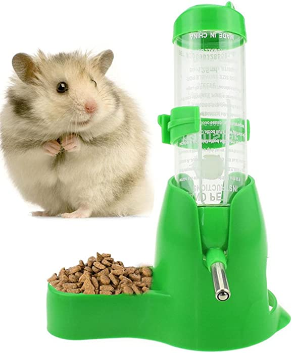 125ml/4oz Pet Drinking Bottle with Food Container Base Hanging Water Feeding Bottles Auto Dispenser for Hamsters Rats Small Animals Ferrets Rabbits Small Animals (125ML, Green)