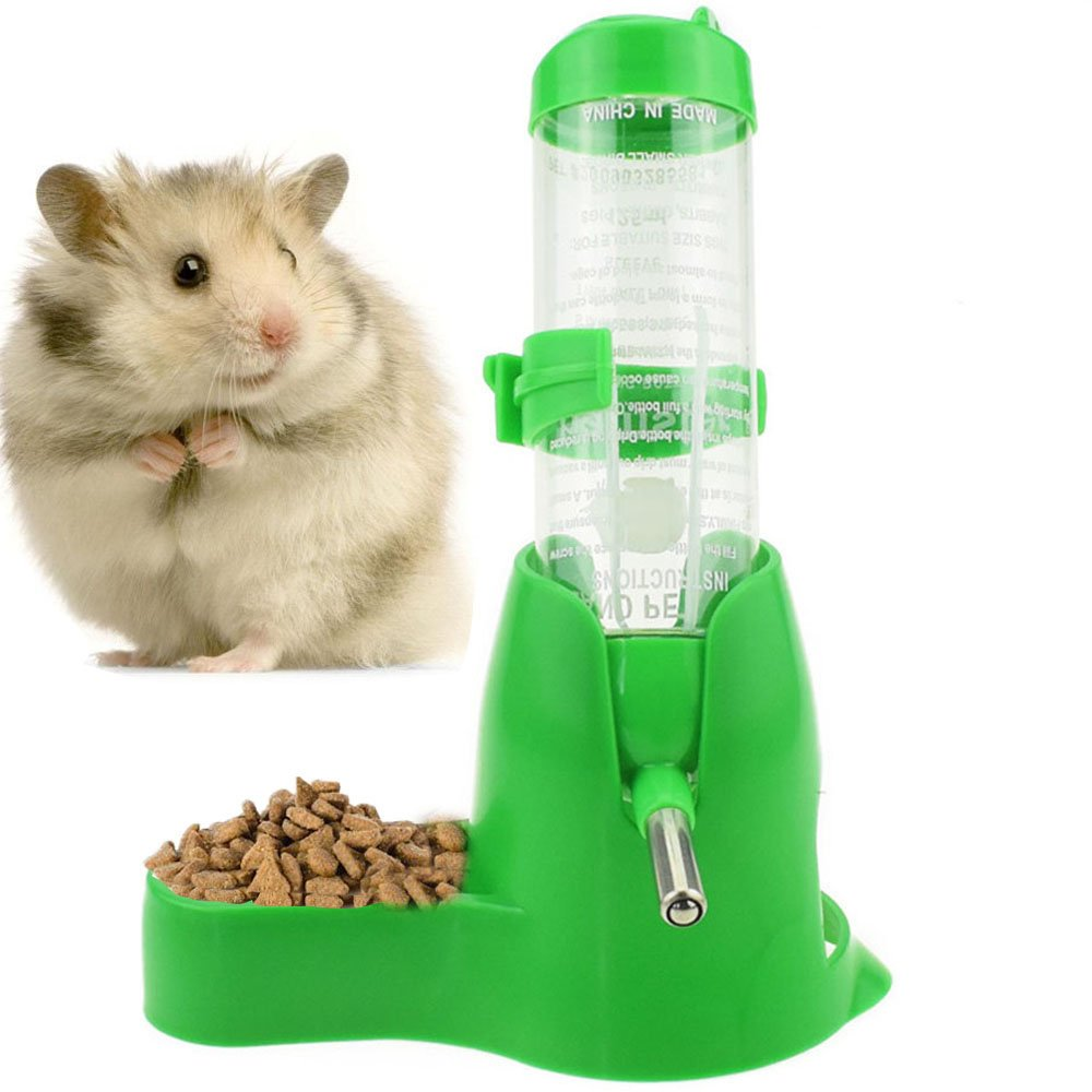 125ml Pet Drinking Bottle with Food Container Base Hanging Water Feeding Bottles Auto Dispenser for Hamsters Rats Small Animals Ferrets Rabbits Small Animals Newweic