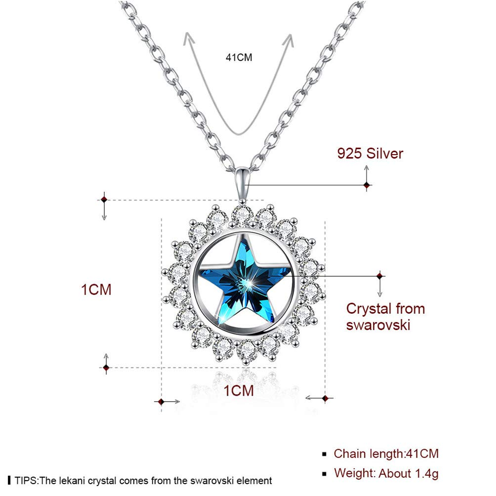 4ae3b804a4a Amazon.com: Vanessa Lucky Star Pendant Necklace Crystals from Swarovski,  Sterling Silver Jewelry Best Wish Gifts Women (Silver): Jewelry