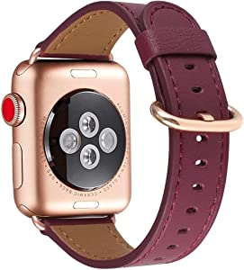 Compatible with iWatch Band 38mm 40mm , Top Grain Leather Band Replacement Strap for iWatch Series 5,Series 4,Series 3,Series 2, 1,Edition (Wine+Rose Gold buckle, 38mm40mm)