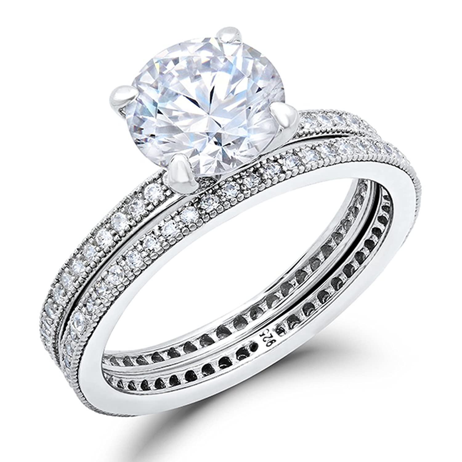Sterling Silver Double Band Engagement Ring Set with Micro Pave Cubic Zirconia Stones
