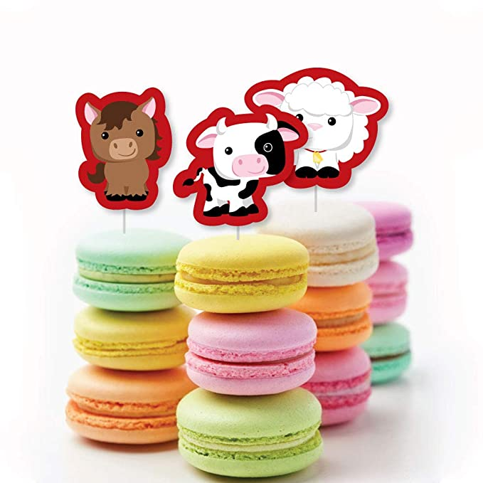 Amazon.com: Big Dot of Happiness Farm Animals - DIY Shaped Baby Shower or Birthday Party Cut-Outs - 24 Count: Toys & Games