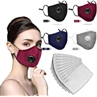 Face Bandanas Cotton with Breathing valve With Activated Carbon Filter Replaceable Filters Haze Dust Face Health for Adults/Childs (4PC+10)