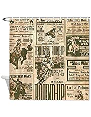 DKISEE Shower Curtains Liner Vintage Rodeo Round-Up Compatible with Standard Showers, Clear 72x72Inch(180x180cm)