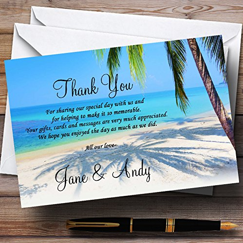 Tropical Beach Palm Tree Personalized Wedding Thank You Cards