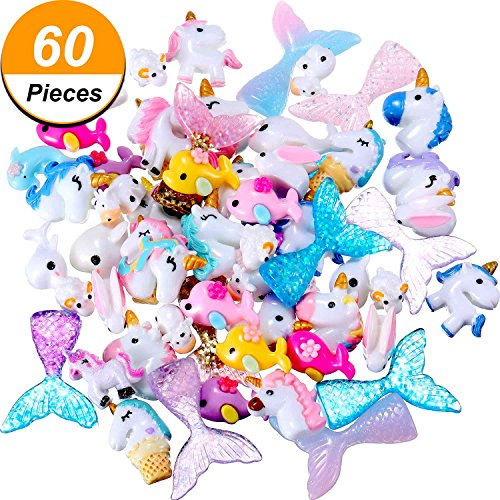 TecUnite 60 Pieces Slime Charms with Mermaid Tail Unicorn Dolphin Resin Flatback of Mixed Slime Beads for Ornament Scrapbook DIY (Small Dolphin Charm)