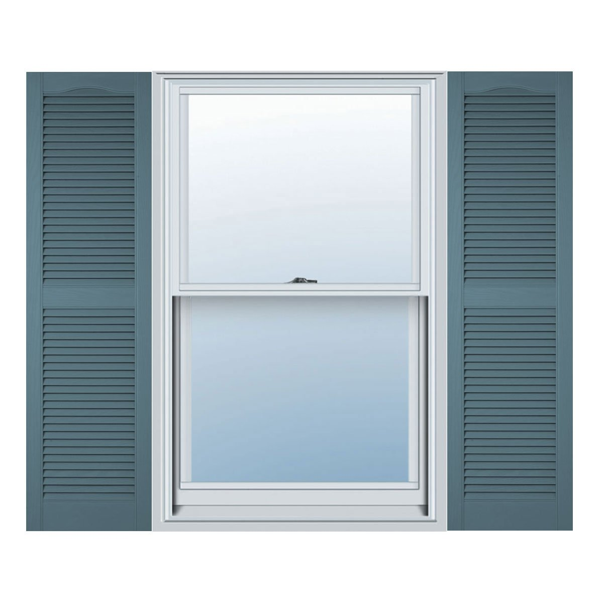 14 1/2''W x 39''H Standard Size Cathedral Open Louver Shutter, w/Installation Shutter-Lok's, 004 - Wedgewood Blue