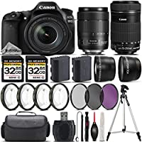 Canon EOS 80D DSLR Camera + Canon 18-135mm IS USM Lens + Canon 55-250mm IS STM Lens + 0.43X Wide Angle Lens + 2.2x Telephoto Lens + 64GB Storage + 4PC Macro Kit + UV-CPL-FLD - International Version