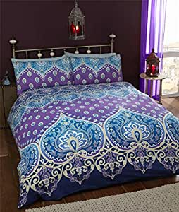 INDIAN HENNA-STYLE PURPLE BLUE COTTON BLEND CANADIAN TWIN (COMFORTER COVER 135 X 200 - UK SINGLE) (PLAIN DUCK EGG BLUE FITTED SHEET - 91 X 191CM + 25 - UK SINGLE) PLAIN DUCK EGG BLUE HOUSEWIFE PILLOWCASES 5 PIECE BEDDING SET