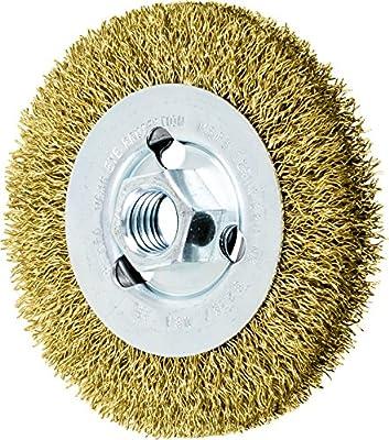 "PFERD 82367 Crimped Wheel Brush, Brass Wire, 4"" Diameter, 5/8-11 Thread, 0.012 Wire Size, 11/16"" Trim Length, 1/2"" Face Width, 12500 RPM"