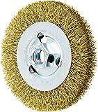 PFERD 82367 Crimped Wheel Brush, Brass Wire, 4'' Diameter, 5/8-11 Thread, 0.012 Wire Size, 11/16'' Trim Length, 1/2'' Face Width, 12500 RPM