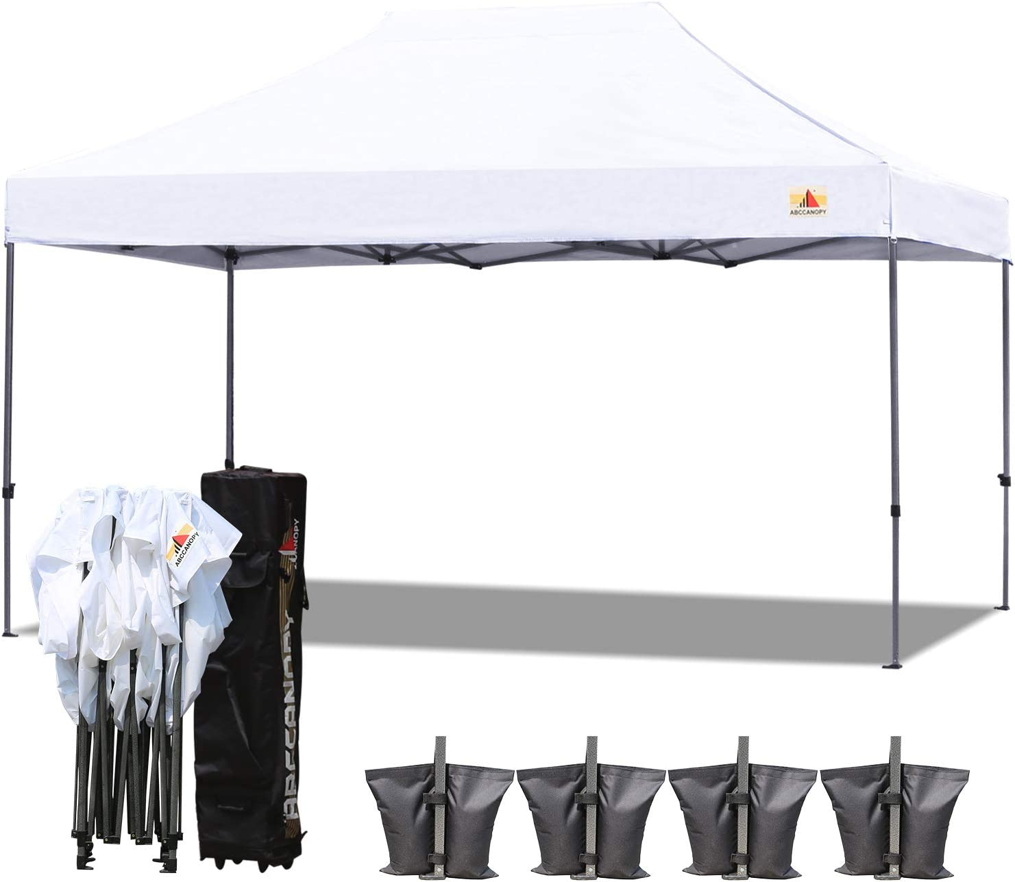ABCCANOPY 23 Colors 10×15 Pop up Tent Instant Canopy Commercial Outdoor Canopy with Wheeled Carry Bag Bonus 4 Weight Bags White