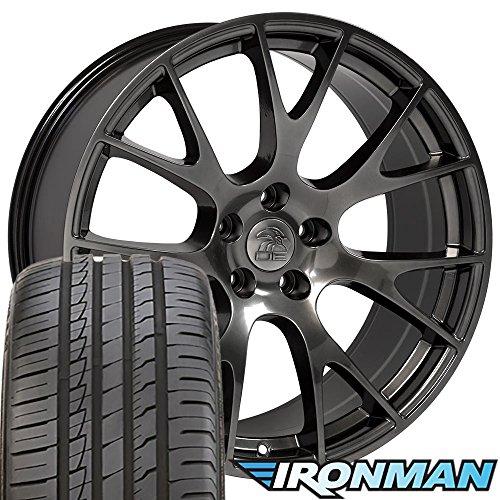 22x10 Wheels & Tires Fit Dodge, RAM Trucks - Hellcat Style Hyper Black Rims w/Ironman Tires - ()