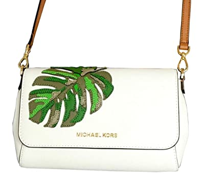 a098f2c04366 Michael Kors Jet Set Medium Convertible Crossbody Pochette in Optic White:  Handbags: Amazon.com