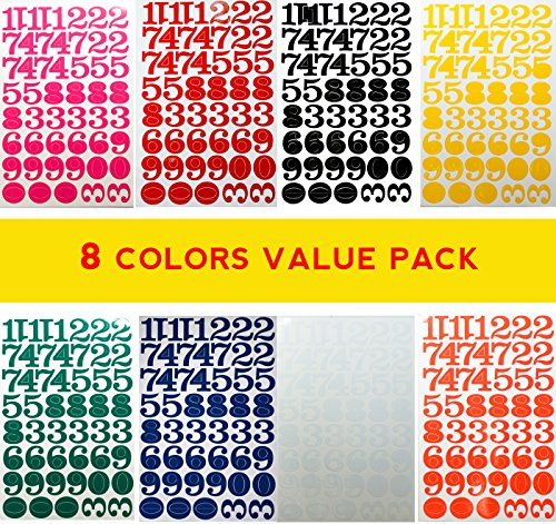 Jazzstick Large Number 0-9 Decorative Sticker Value Pack Bulk 8 sheets Assorted Colors Red/Green/Orange/Black/White/Navy/Yellow/Pink 14C
