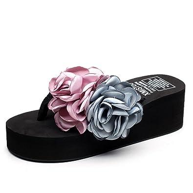 Frauen Hausschuhe Mode Rutschfeste Dicke Plattformen Steigung mit Flip-Flops Neue Flache Strand Blume Coole Hausschuhe Lässig Römischen Schuhe,Blue-33