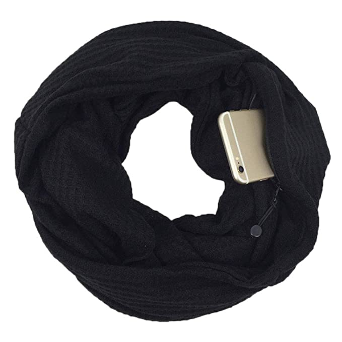 Infinity Scarf With Zipper Secret Pocket For Women Girls Extreme Soft Stretchy Travel Scarves