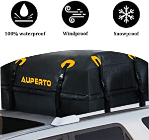 AUPERTO Rooftop Cargo Bag - 100% Waterproof 15 Cubic ft Roof Bag or Cars with Side Rails, Cross Bars or Rack