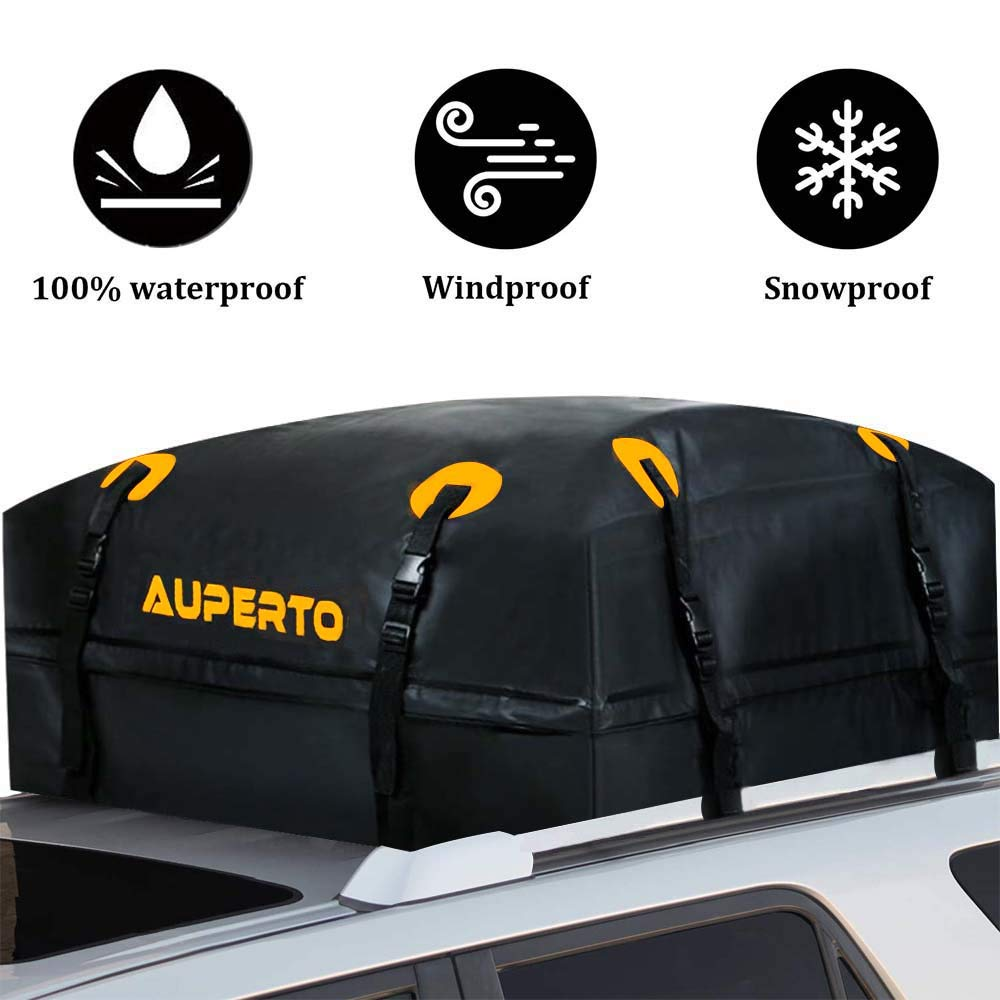AUPERTO Rooftop Cargo Bag - 100% Waterproof 15 Cubic ft Roof Bag or Cars with Side Rails, Cross Bars or Rack by AUPERTO