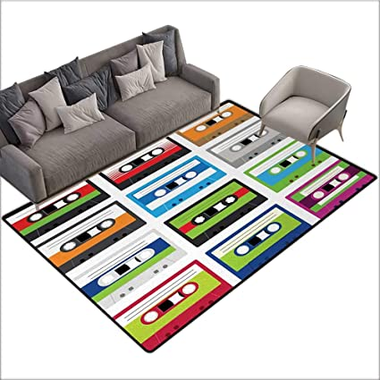 90s Custom Pattern Floor mat Collection of Retro Plastic Audio Cassettes Tapes Old Technology Entertainment Theme