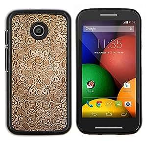 """Be-Star Único Patrón Plástico Duro Fundas Cover Cubre Hard Case Cover Para Motorola Moto E / XT1021 / XT1022 ( Fondo de pantalla de talla de madera de Brown Diseño Arte"""" )"""