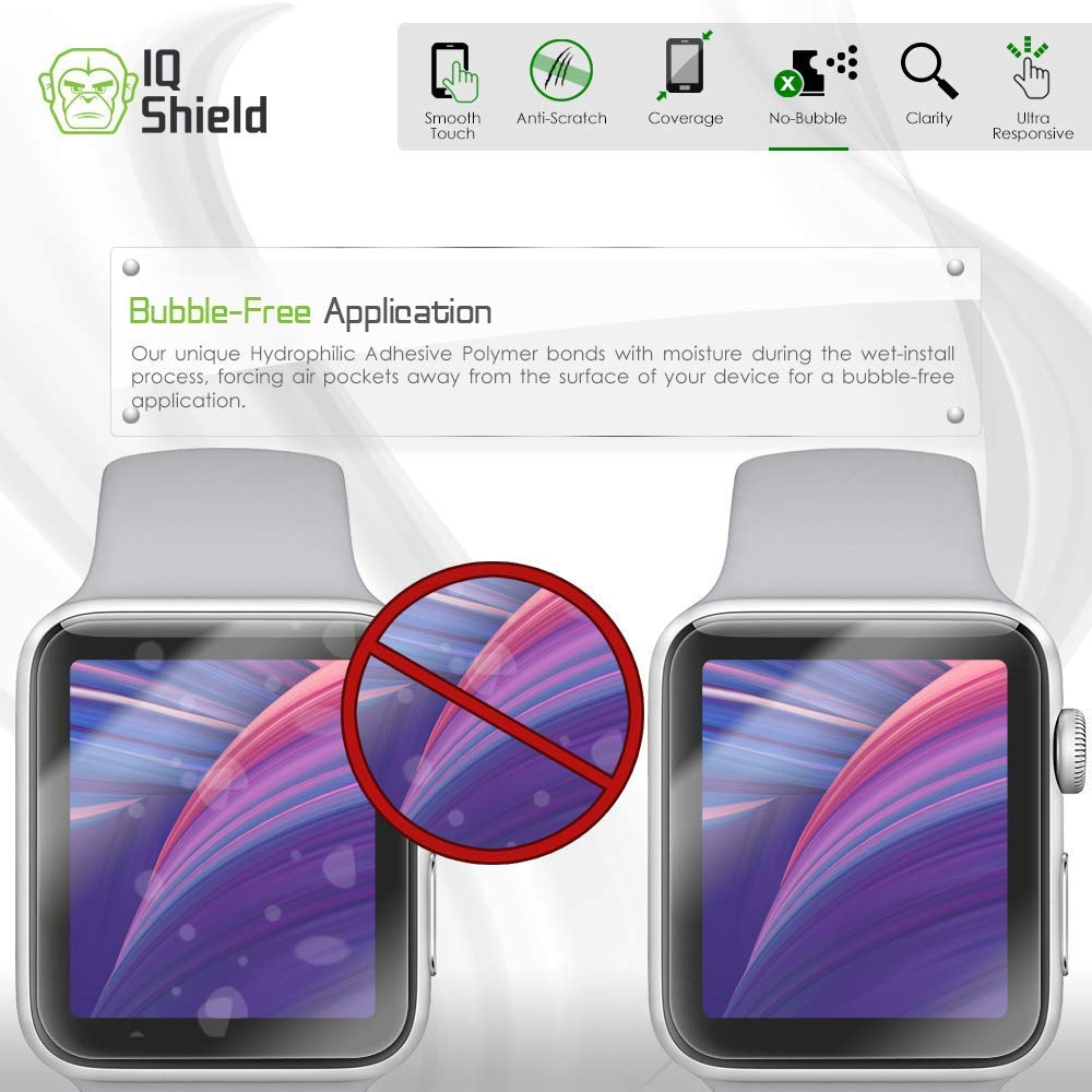 Apple Watch Screen Protector (38mm)(Apple Watch Nike+, Series 3/2/1 Compatible)[Ultimate](6-Pack), IQ Shield LiQuidSkin Full Coverage Screen Protector [HD Clear Anti-Bubble Film] by IQShield (Image #7)