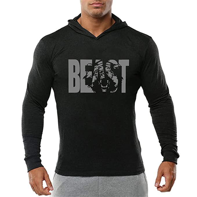 0518d6a128d5fb Image Unavailable. Image not available for. Color  YeeHoo Men s Beast Pullover  Sweatshirts Gym Hoodie ...