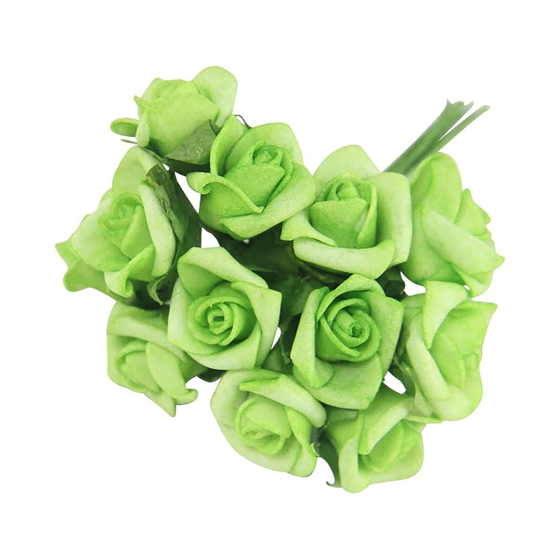 Maylife 12個のミニフォームローズバンチ バルク卸売 造花 クラフト【アップルグリーン、4束】 B07GCFJ4DX