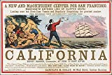 24x36 Poster; Sailing Card For Clipper Ship California, Gold Rush Scenes 1850