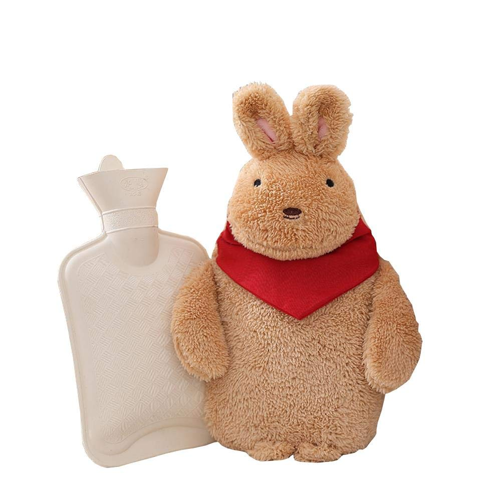 Rubber Hot Water Bottle - 620ml Rabbit Hot Water Bag, Easy to Carry Durable Explosion-Proof and Leakproof, Flannel Cover, Brown by YQQWN