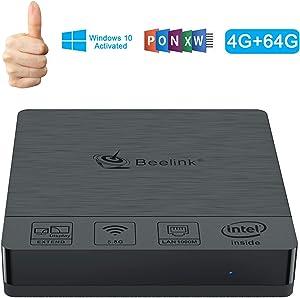 Mini PC Fanless, Beelink BT3 PRO Windows 10 64-bit(4GB DDR/64GB eMMC), Intel Atom X5-Z8350 Processor Mini Desktop Computer with HDMI &VGA Port, 2.4/5.8G WiFi,1000M LAN, BT4.0, Support Auto Power