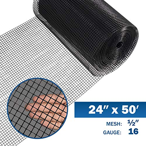 Fencer Wire 16 Gauge Black Vinyl Coated Welded Wire Mesh Size 0.5 inch by 0.5 inch (2 ft. x 50 ft.)