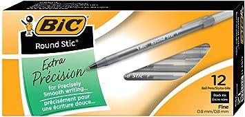 BIC Round Stic Xtra Precision Ballpoint Pen Fine Point 12-Count Black 0.8mm