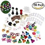 BESTOMZ 58pcs Miniature Fairy Garden Ornament Figurine Miniature DIY Dollhouse Decor