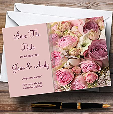 Absolutely Beautiful Pink Flowers Personalized Wedding Save The Date Cards