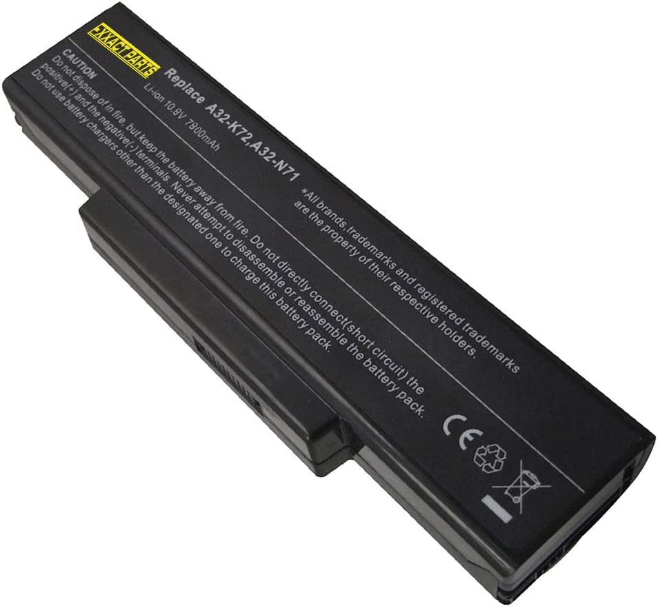 Exxact Parts Solutions 9-Cell 10.8V 7800mAh Laptop Battery for ASUS K72JM,K72JO,K72JQ,K72JR,K72JT,K72JU,K72JV,K72JW,K72K,K72L, K72N,K72P,K72Q,K72R,K72S,K72Y,K73,K73E,K73J,K73JK,K73S,K73SD,K73SV