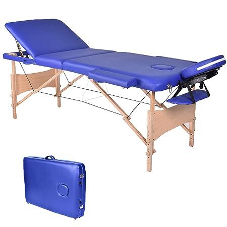 Wellhome 3 Zonen Holz Massageliege Faltbar Klappbar Leicht Massagetisch Massagebank Tragbar Höhenverstellbar Massage Bett Pro